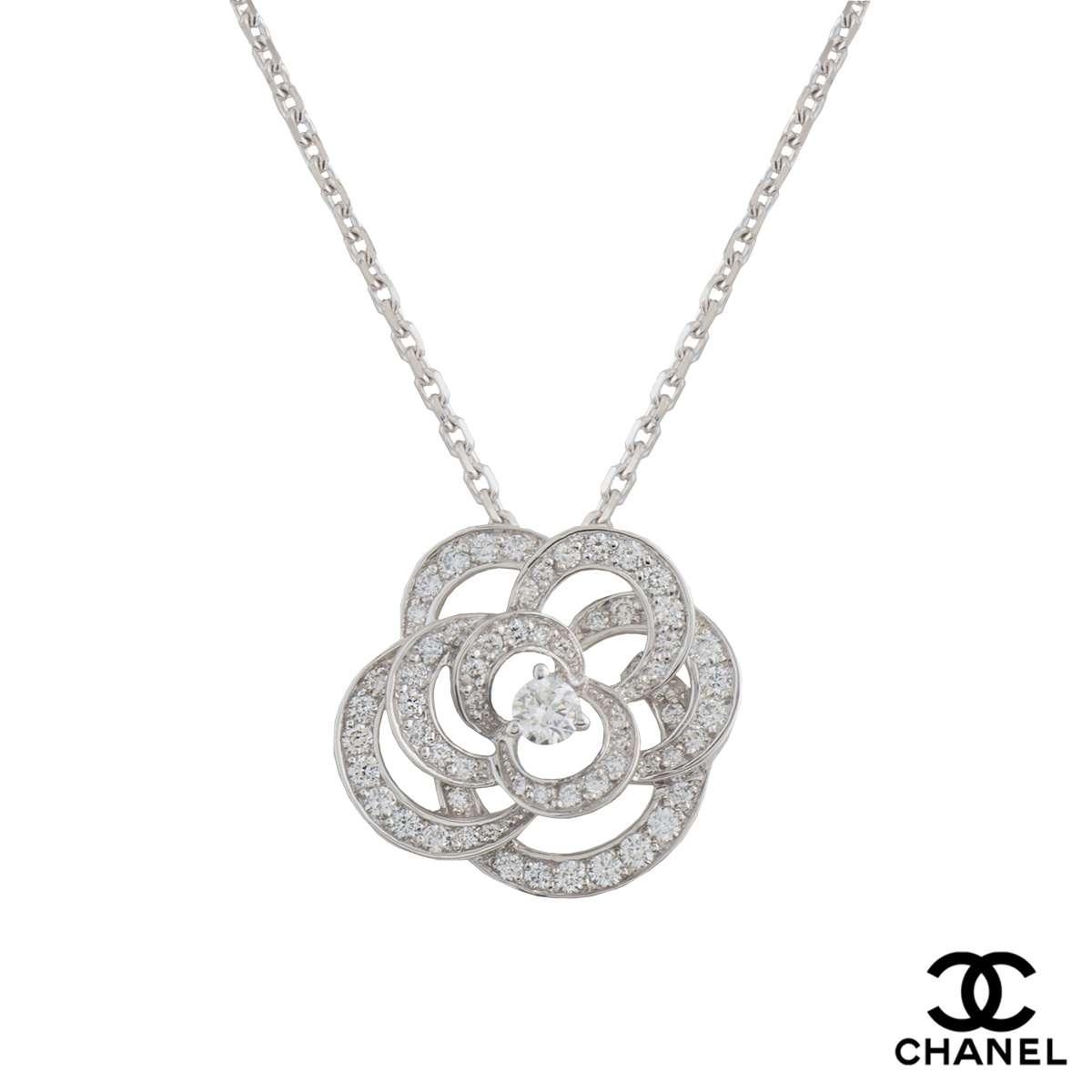 Chanel 18k white gold diamond camelia pendant 096ct gvs rich chanel 18k white gold diamond camelia pendant 096ct gvs aloadofball Choice Image
